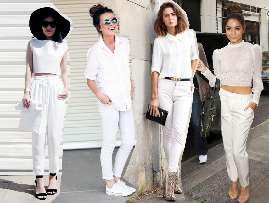 wearing white on white, all white street style outfit