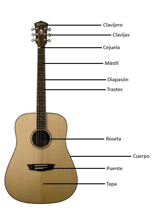 Partes de una guitarra acústica