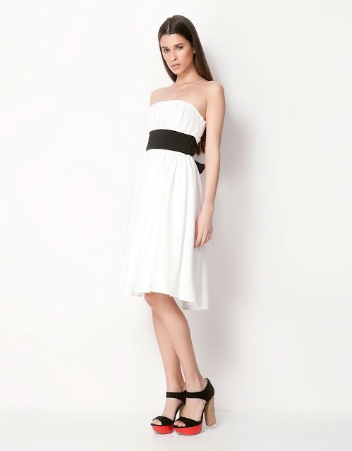 siyah kemerli beyaz elbise diz boyu kolsuz gece elbisesi