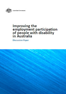 "Image showing front cover of discussion paper entitled ""Improving the employment participation of people with disability in Australia'."