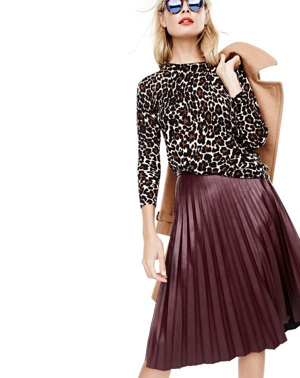 jcrewismyfavstore: J. Crew Faux-Leather Pleated Midi Skirt