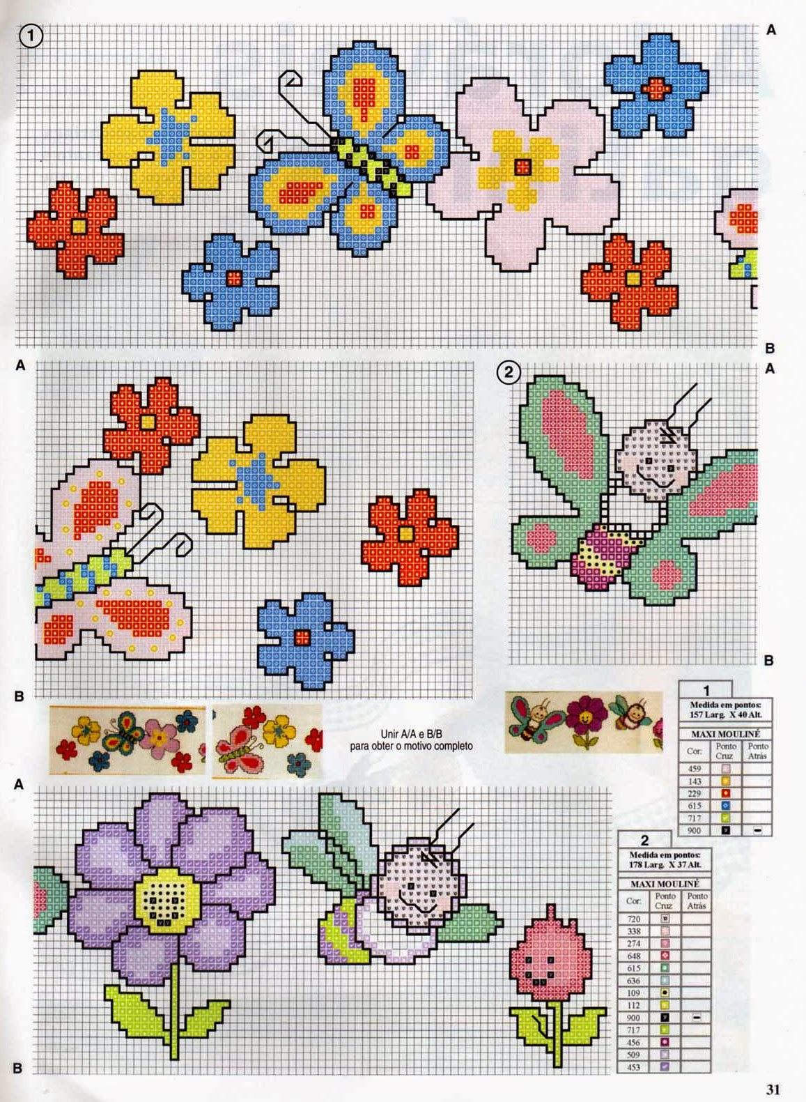Blog amor perfeito gr ficos de ponto cruz borboletas - Pagine da punto a punto per bambini ...