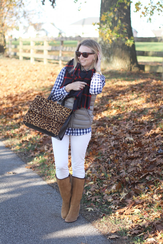 plaid shirt, plaid scarf, ecru jeans, UGG wedge boots