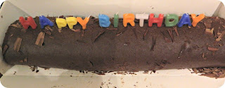 Chocolate Swiss Roll Birthday Cake