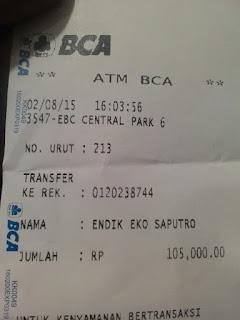 Bukt transfer pembayaran jersey ke rekening yang di sediakan Enkosa sport lokasi di tanah abanag toko jersey terpercaya