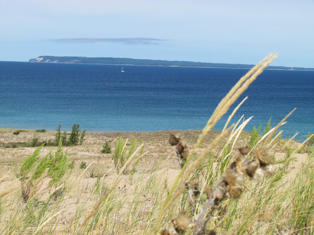 View of South Manitou Island from Sleeping Bear Dunes (photo by J. Schechter)