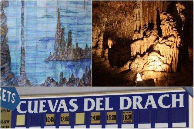 Mosaico Cuevas del Drach – Interior Cuevas del Drach en Mallorca – Taquillas y cartel de las Cuevas del Drach