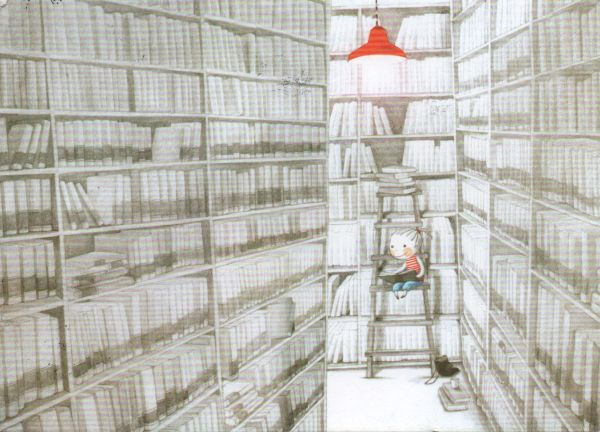 drawn illustration of a little girl on a ladder reading between tall bookshelves