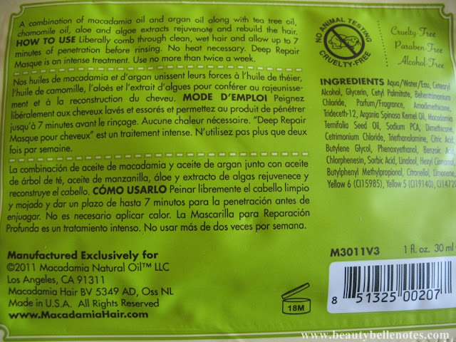 Macadamia Deep Repair Masque - use and ingredients