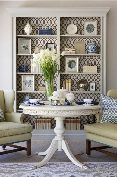 bookcase wallpaper focal point interesting space