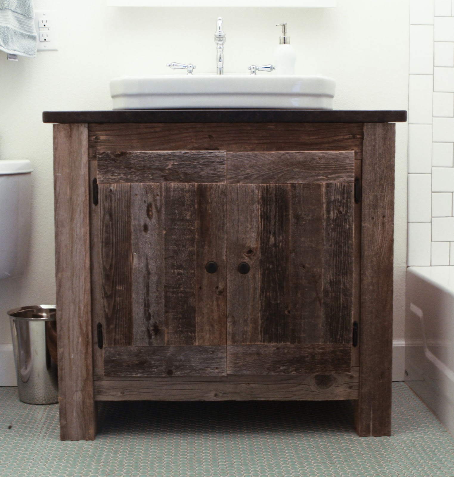 the reclaimed wood vanity