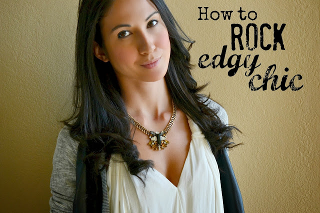 Mommy Testers How to rock edgy chic, how to wear the leather trend, Edgy chic for moms, Target Vegan Leather Sweater, J.Crew stacked jewel pendant necklace