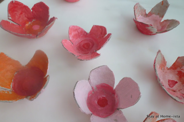 egg cartons turned into cherry blossoms
