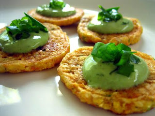 vegan recipe from Earth Balance for corn cakes with lemon pesto cream