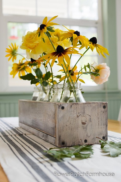 Fall Flower Blooms in Vintage Box Table Centerpiece