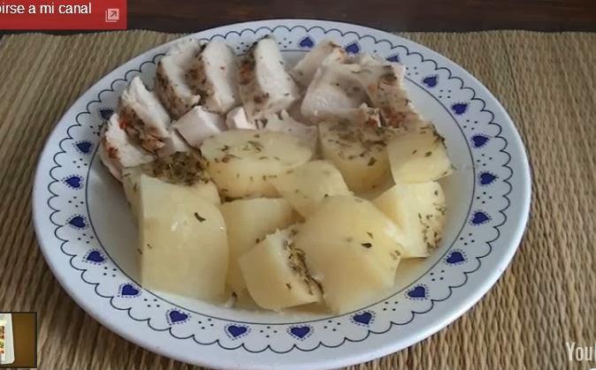 Pollo con papas en Vaporera