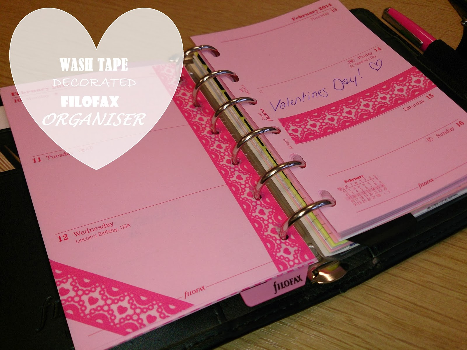 filofax organiser diary washi tape decorate organise pink black valentines day calendar
