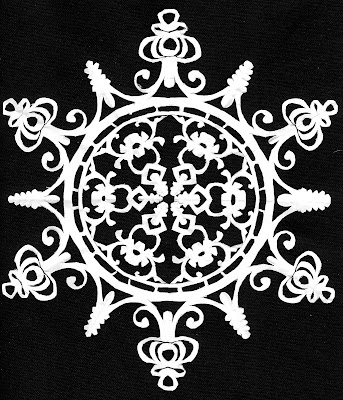 Maiolica, Medallion, Sarah Myers, S. Myers, arte, cut paper, snowflake, antique, Mexican, repeat, design, art, flower, majolica