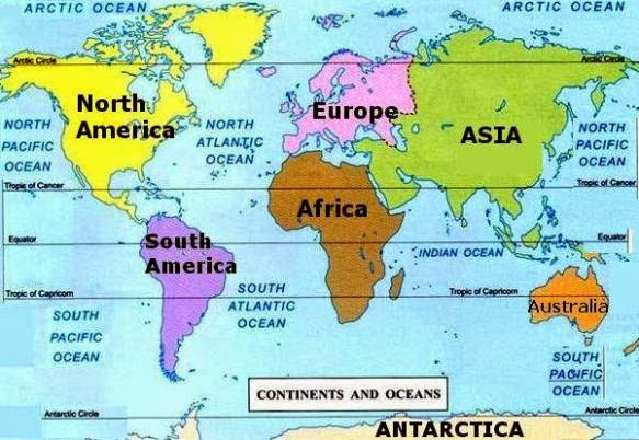 Continents Oceans Continents List - List of 7 continents of the world