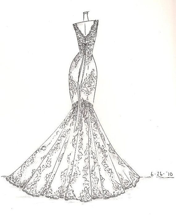 Are up for auction. Commissioned to sketch their dream wedding dress ...