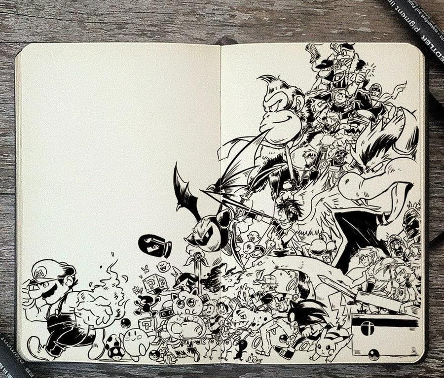 37-Super-Smash-Bros-Gabriel-Picolo-365-Days-of-Doodles-end-of-2014-www-designstack-co