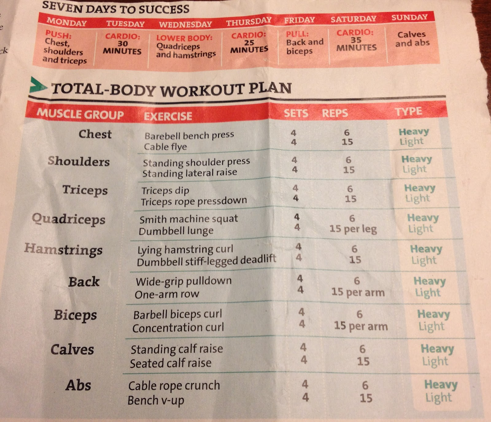 6 Day Workout Plan