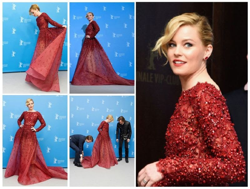 Careful Analysis Elizabeth Banks Managing Her Art In A Scarlet Gown At The 65th Berlinale In Germany