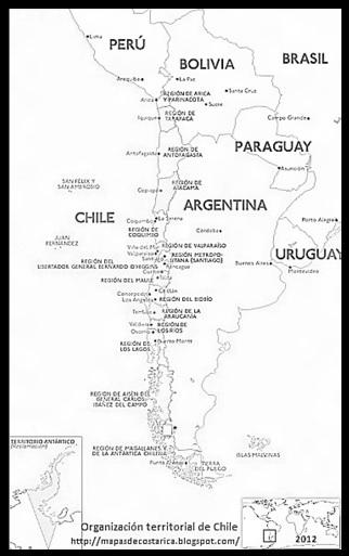 División política de CHILE. mapa blanco y negro