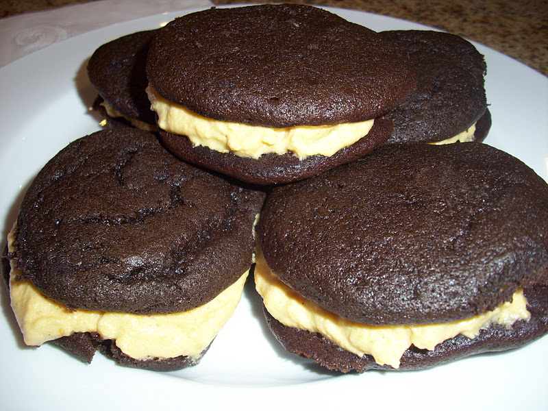 ... by Four: Chocolate Whoopie Pies with Pumpkin Cream Cheese Filling