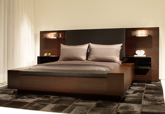 Dark brown modern bed