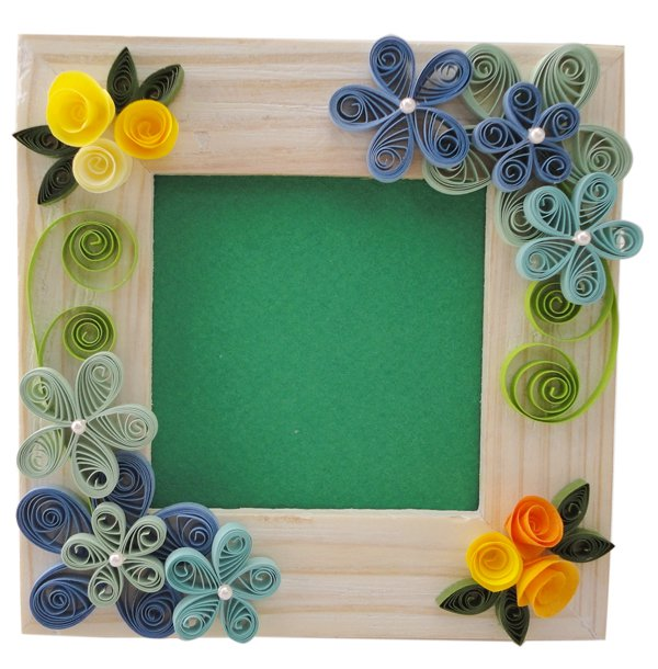 Frame paper quilling creative art craft work for Simple paper quilling designs
