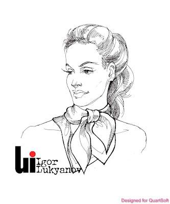 boceto de moda, mujer con un pañuelo para el cuello