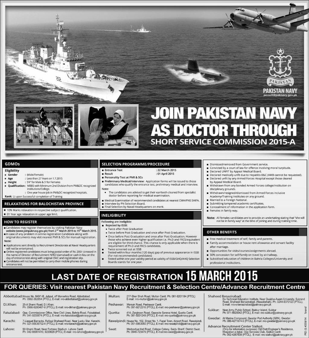 pakistan navy jobs as doctors