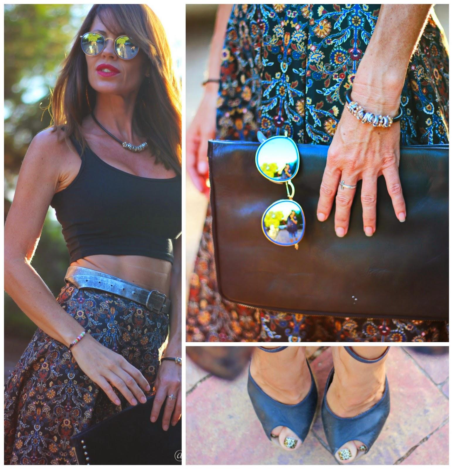 tendencias 2014 - looks septiembre - falda midi - gafas rayban