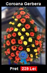 Coroana funerara din Trandafiri si Gerbera