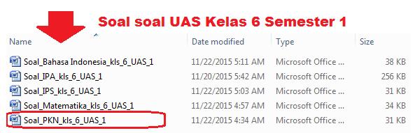 Download Soal UAS PKn Kelas 6 SD Semester 1/Ganjil KTSP Tp.2015/2016  Baru