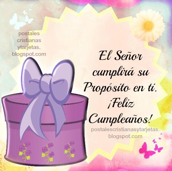 Tarjeta de Cumpleaños para mujer, amiga, hija, hermana con bello mensaje cristiano. Dios cumplirá su propósito en ti.