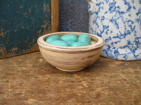 Tiny Wood Bowl and Robins Eggs