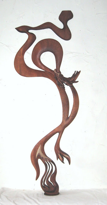 """Water Dance""  Mahogany Wood, 50"" x 18"""