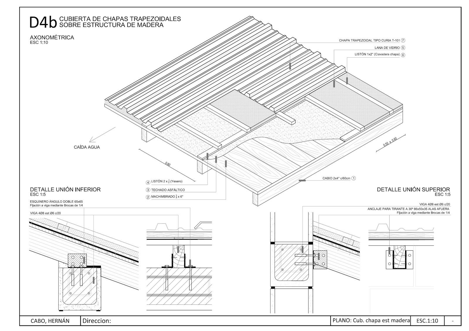 Detalles constructivos CAD: Detalle cubierta metálica con estructura ...