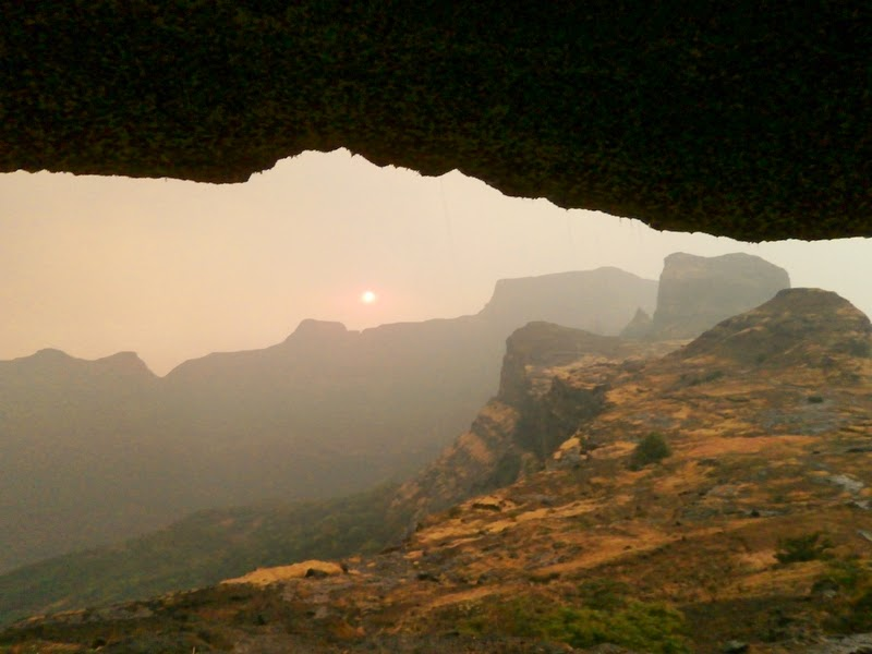 The magnificent Sunset seen from our cave on Alang