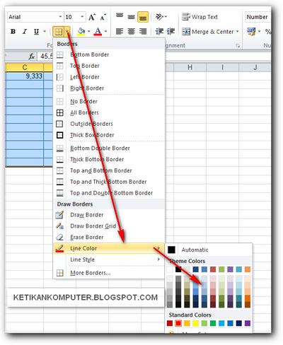 merubah warna garis tabel di ms excel