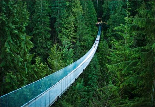 This simple walking suspension bridge hangs 230 feet (70 meters) over the Capilano River. It was rebuilt several times, but people have enjoyed all its incarnations since 1889.