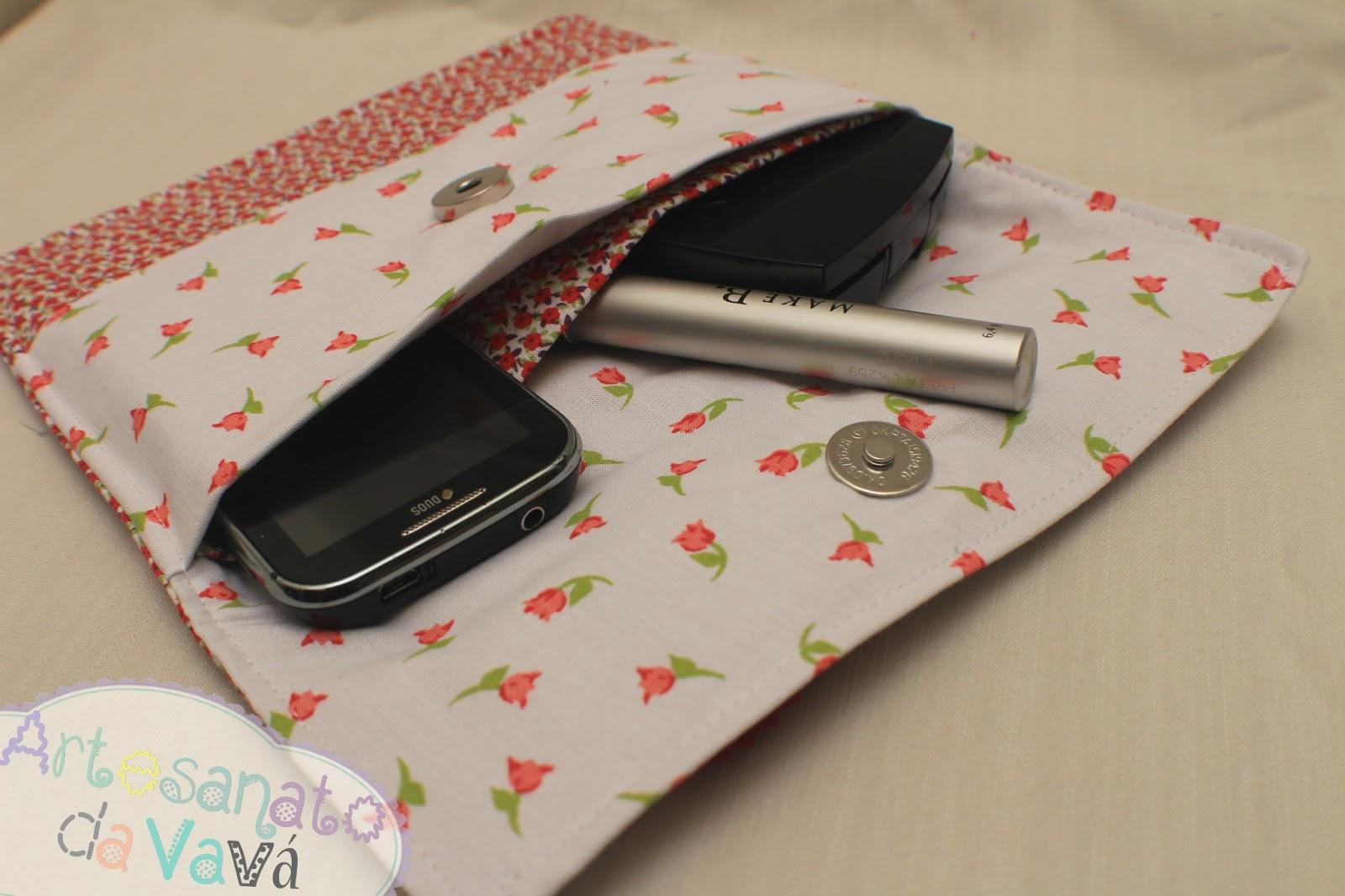 Bolsa De Tecido Feita Com Nós : Artesanato da vav? necessaire floral bolsa para