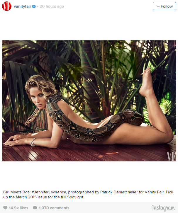 Jennifer Lawrence Strips Down To Pose With Boa Constrictor For Vanity Fair