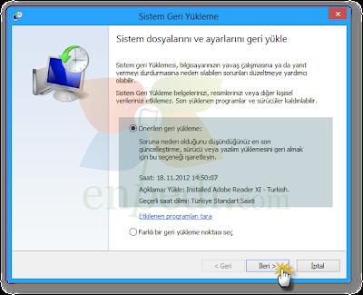 enpedi 15 10 29 Windows 8 Sistem Geri Yükleme Nasıl Yapılır