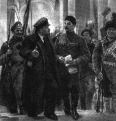 """""""¿Cómo debe abordarse la historia de Octubre?"""" - texto de Grigory Sokolnikov - año 1924 - publicado en el blog Crítica Marxista-Leninista en 2012  Lenin+y+Stalin+en+el+Smolny+en+Octubre+1917"""
