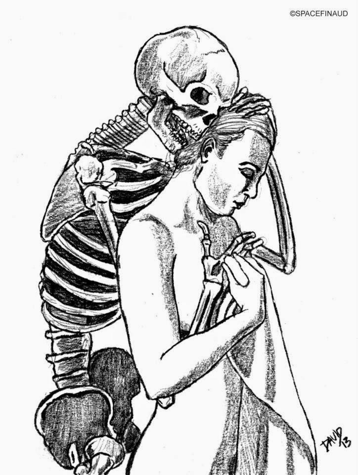 L'AMOUR DU SQUELETTE, squelette, femme, nue