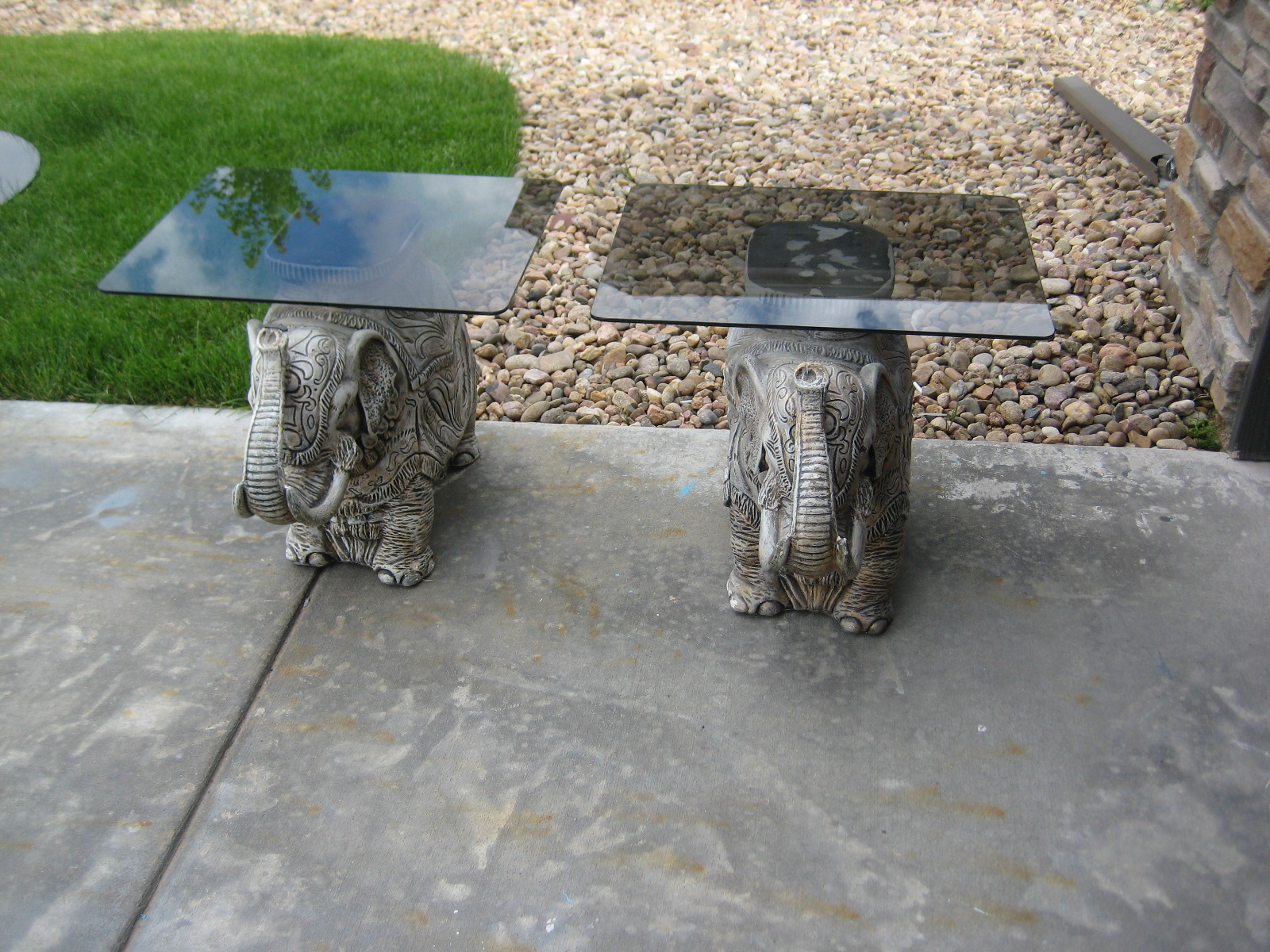 Elephant End Tables With Smokey Glass Tops