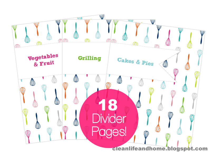 picture about Free Printable Divider Tabs for Binders called Refreshing Lifetime and Residence: Printable Recipe Binder with Divider